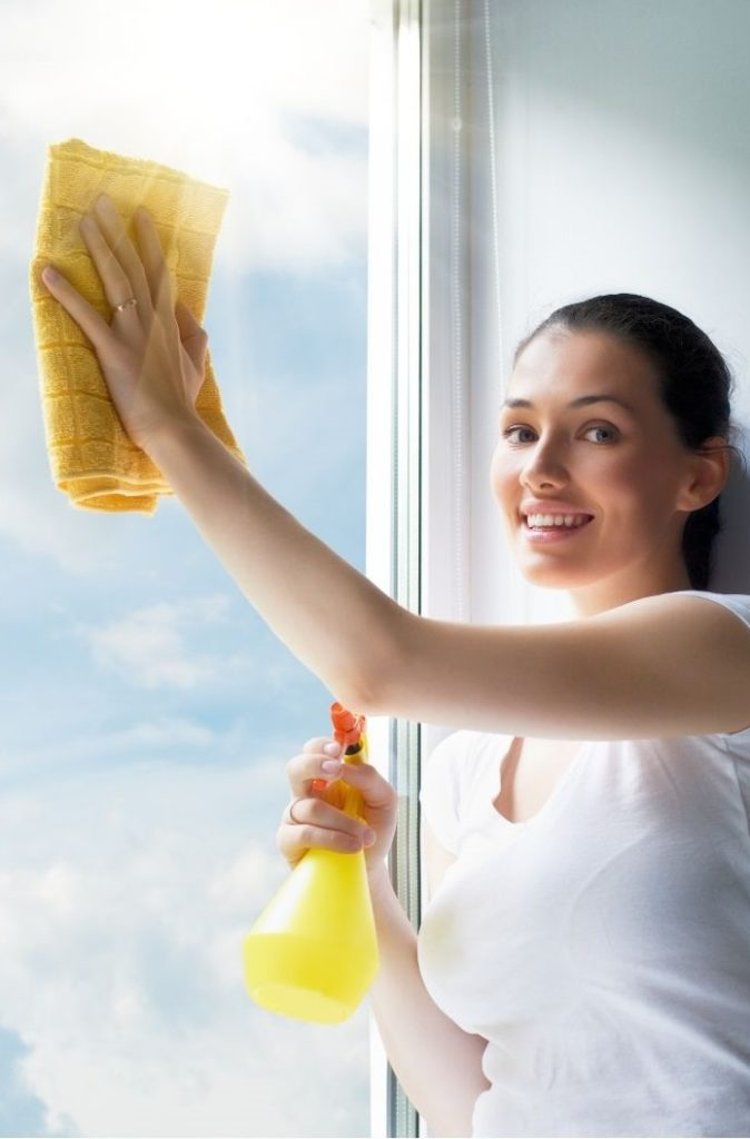 Attractive happy maid cleaning window