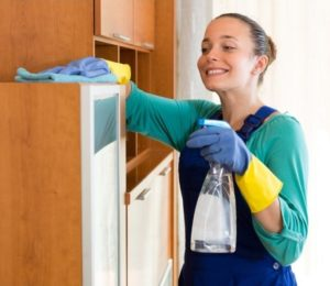 Maid Cleaning Kitchen Room