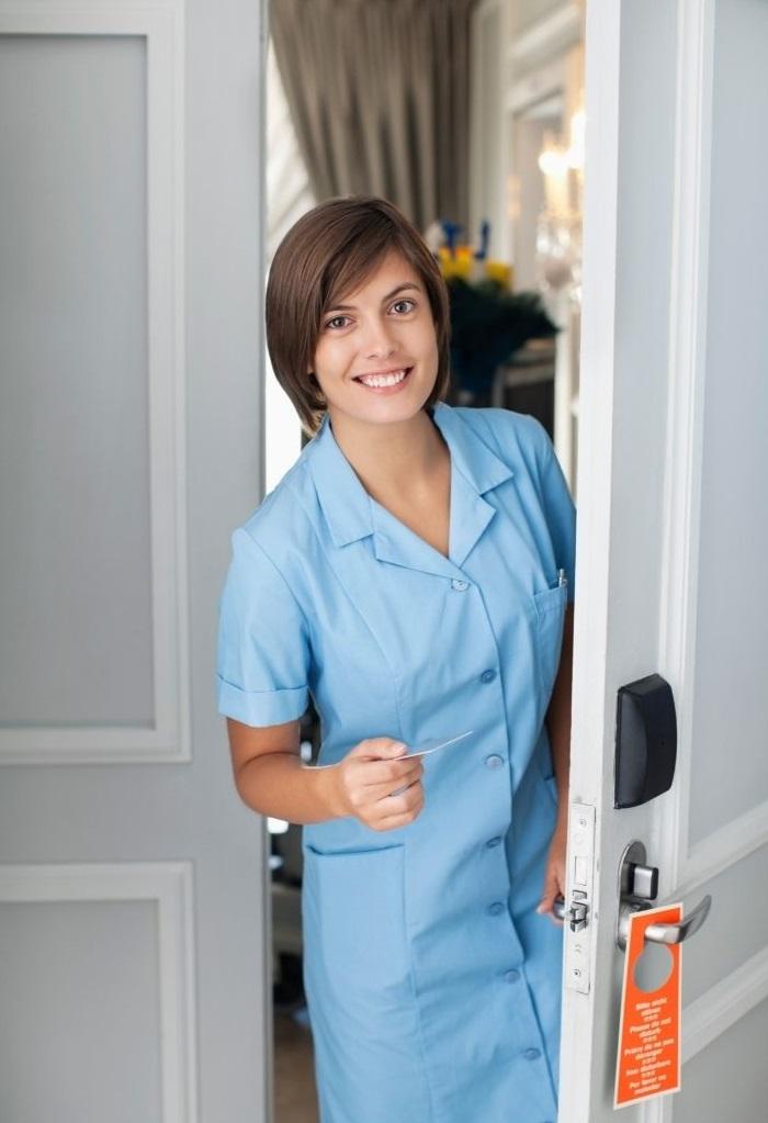 Female maid cleaning door